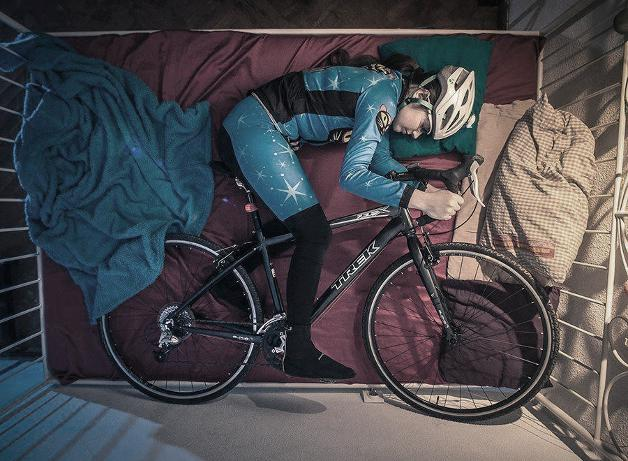 Cyclist in bed